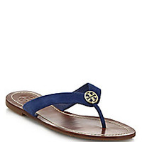 Tory Burch - Thora Suede Logo Thong Sandals - Saks Fifth Avenue Mobile