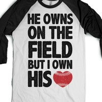 He Owns the Field (baseball)-Unisex White/Black T-Shirt