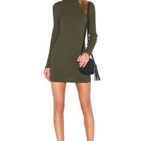 Army Green High Neck Long Sleeve Knitted Mini Dress