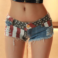Feitong New Arrival Vintage Summer Sexy Low Waist American US Flag Mini Denim Shorts Jeans Hot Denim Free Shipping&Whloesale