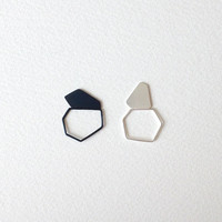 Two Geometric Rings, Oxidized Sterling Silver Rings, Black and White Gemstone Rings