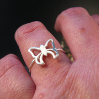 Silver butterfly ring, handmade sterling silver ring, butterfly jewelry, nature inspired jewelry