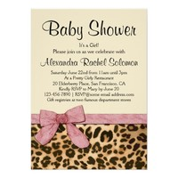 Leopard Print Pink Bow Girl Baby Shower Invitation