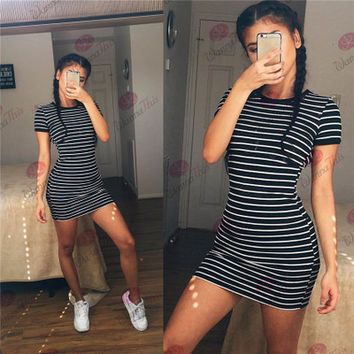 [ On Sale ] 2016 Summer Beach Holiday Stripes Printed Round Necked Short Sleeve Casual Party Playsuit Clubwear Bodycon Boho Dress _ 4660
