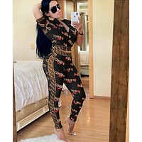 FENDI New Women Casual Shorts Sleeve Top Pants Trousers Set Two-Piece Sportswear