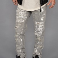 Graffiti Distressed Denim Jeans (Ice Black)