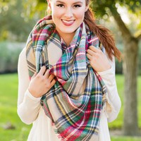 Warm To The Touch Blanket Scarf- Plaid - NEW ARRIVALS