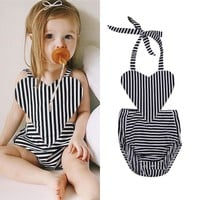 SA Toddler Kid Baby Girls Clothes Striped Backless Romper Bodysuit Outfits wea