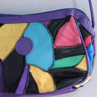 VINTAGE 80s PATCH leather bag purse - small size patchwork shoulder multi black grape yellow turquoise red fuchsia leather - artsy boho s sm