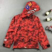 ca auguau Men's Bape Hoodie Windbreaker Sleeve Zipper Jacket
