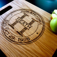 """Personalized Cutting Board, Custom Engraved -12"""" x 15"""" - Personalized Wedding Gift, Anniversary Gift"""