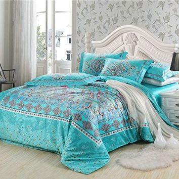 Cliab Boho Bedding Bohemian Bedding Exotic Bedding Queen 100% Cotton Duvet Cover Set