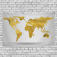 Beautiful Gold World Map Tapestry Shine Yellow Abstract Wall Hanging Art for Living Room Bedroom Dorm Decor