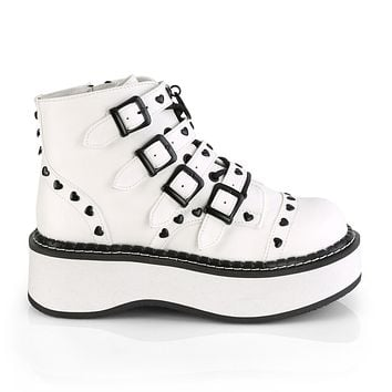 """Emily 315 Goth White Heart Stud Multiple Strap 2"""" Platform Ankle Boots"""