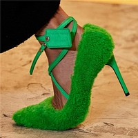 Women Fashion Faux Fur High Heel Color Pumps