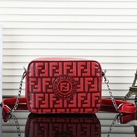 F Fendi Fashion New Leather More Letter Print Shoulder Bag Crossbody Bag Women Red