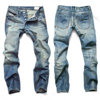 Hot Sale Ripped Holes Slim Plus Size Pants Jeans [10684404995]