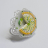 Scented or Unscented Key Lime Pie Miniature Food Ring - Miniature Food Jewelry