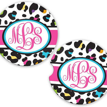 Personalized Monogrammed Car Coasters White Rainbow Leopard Cheetah, Cup Holder Coaster, Monogram Gift, Gift for Her Sandstone Coaster