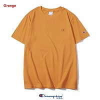 Champion New fashion embroidery logo couple top t-shirt Orange
