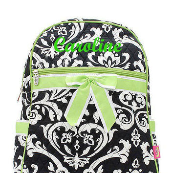 Black and Lime Damask Monogrammed Backpack Monogram Quilted Backpack  Personalized Backpack