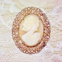 Gold Filigree Framed Carved Shell Cameo Brooch Vintage Pin Cream Pink Natural Shell Gatsby Girl & Flowers Mad Men Costume Jewelry Estate