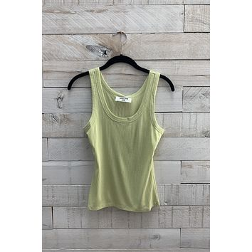 Ribbed Round Neck Tank- Green