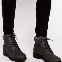 New Look   New Look Alvin Knit Collar Ankle Boots at ASOS