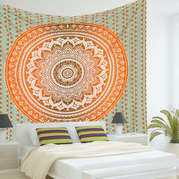 ndian Mandala Tapestry Hippie Hippy Wall Hanging Throw Bedspread Dorm Tapestry Decorative Wall Hanging , Ombre Mandala Tapestries
