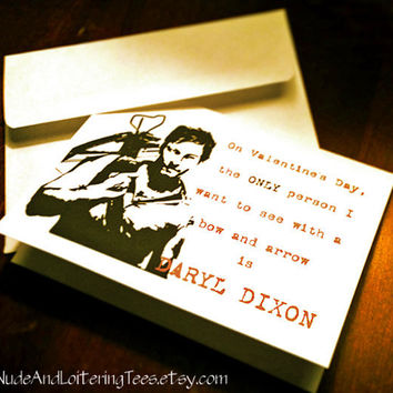 Daryl Dixon Valentine Card Funny Walking Dead Valentine's Day Greeting Zombies