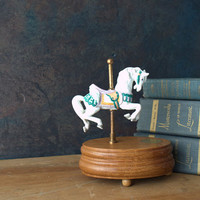 Collectible Willitt's Carousel Music Box - White Jumper Horse with Pink and Green Ribbons