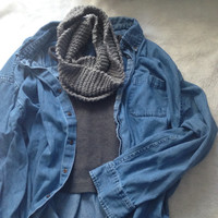 Knitted Infinity scarf , Ribbed knit halter , And Denim flanel