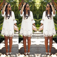 2016 summer casual lace flare sleeve high waist white a line dress sexy hollow out women party dresses