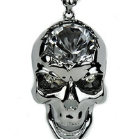 Dark Metallic Silver Crack Skull with Large Stone Necklace Metal Pendant