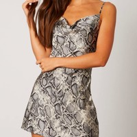 Satin cowl neck snake print mini dress - silver