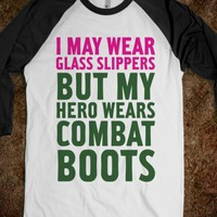Glass Slippers & Combat Boots-Unisex White/Black T-Shirt
