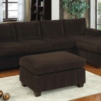 F7131 - Chocolate Corduroy Sectional Sofa - Furniture2Go