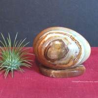 Vintage Marbled Alabaster Egg, Stone Carving, Display Egg