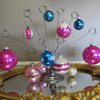 Striped Glass Ornaments Hand Decorated Glass Ornaments Mercury Glass Indented Christmas Tree Ornaments Pink and Blue Glittered Ornaments