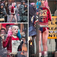 New Batman Harley Quinn Suicide Squad Costume Adult Women Cosplay Costume Full Set Jacket T Shirt Shorts