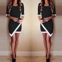 Sexy Women Summer Bandage Bodycon Evening Party Irregular Mini Dress = 1956846916