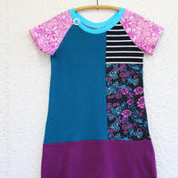 Recycled T Shirt Dress for Girl Size 8 made from Upcycled T-shirts, Raglan Sleeve Tshirt Dress for Girl, Upcycled T Shirt Dress