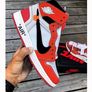 NIKE 24 Jordan 1 OFF White AJ1 Joint Name High tops Basketball shoes Chicago White Red