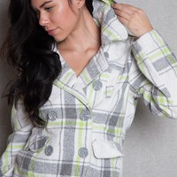 Body Central Plaid Wool Double-Breasted Pea Coat Jacket With Detachable Hood - Ivory