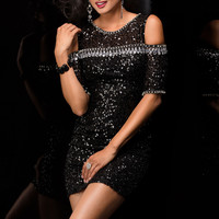 Scala 48382 - Black Sequin Fitted Short Homecoming Dresses Online