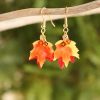 Maple Leaf Earrings Maple Leaf Jewelry Fall Jewelry Fall Earrings Autumn Jewelry Autumn Earrings Thanksgiving Maple Leaves Holiday Gold