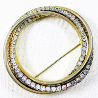 Gold and rhinestone circle pin brooch, trinity knot brooch, rhinestone scarf pin, circle coat pin, large vintage circle brooch