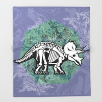 Triceratops Fossil Throw Blanket by Chobopop
