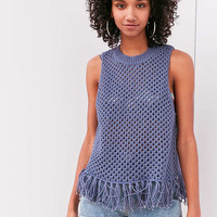 Ecote Sophie Fringe Crochet Tank Top - Urban Outfitters