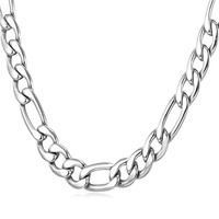 """9MM Men Necklace Stainless Steel Figaro Chain  [18"""", 22"""", 26"""", 28"""", 30""""]"""